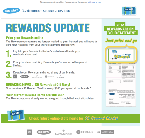 Screenshot of my Old Navy rewards emailing explaining that rewards will no longer be automatically sent to the customer.
